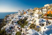 summer view of Oia, Santorini, Greece. People are not recognizable