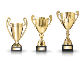 picture of trophy  - three different kind of golden trophies - JPG
