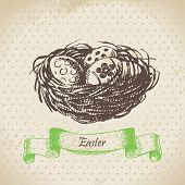 Vintage background with Easter eggs and nest.