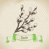 Vintage Easter background with pussy-willow.
