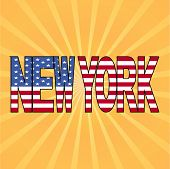 New York flag text with sunburst vector illustration