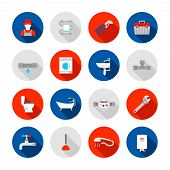 pic of solid  - Plumbing service shower bathtub  and sink drain installation tools icons set abstract solid isolated vector illustration - JPG