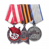 Order Of The Red Banner, Glory, Medal For Courage. Isolated