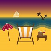 Freelancer paradise, summer and vacation, downshifting lifestyle. Vector illustration.