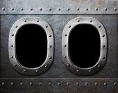 two military ship or submarine windows as steam punk metal background