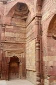 Remains Of Qutub Mosque In Delhi (india) Decorated With Sentences From Koran,islamic Holy Book