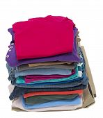 image of no clothes  - Vertical shot of a neat stack of folded clothing - JPG
