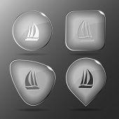 Yacht. Glass buttons. Raster illustration.