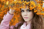 Beautiful Young Woman Portrait, Teen Girl Over Autumn Yellow Park