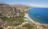 Preveli Beach With Palm Trees In Crete. Greece