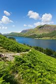 Mountains and Buttermere English Lake District Cumbria England uk on a beautiful sunny summer day