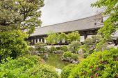 Architecture of Sanjusangendo which is famous for its 1001 statues of Kannon, the goddess of mercy i