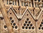 Barcelona, Spain - August 27, 2014: La Sagrada Familia Facade Fragment, The Cathedral Designed By An