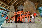 Stone fox (Inari messenger of God) statues  and many small torii at the Fushimi-Inari Taisha, Kyoto, Japan