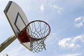 Basketabll hoop under blue sky
