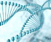 foto of double helix  - blue Dna double helix molecules and chromosomes - JPG