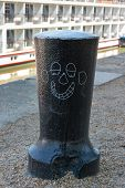 Capstan With Cartoon Happy Face.