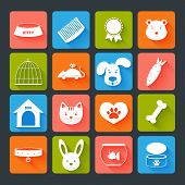 image of bag-of-dog-food  - Pets icons set flat with animal food toy isolated vector illustration - JPG