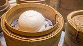 Hot Steamed Bun In Bamboo Steamer
