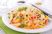 fried noodles with meat and vegetables