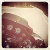 Motorcycle on the road with instagram effect
