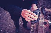 Senior Man Polishing Shoes