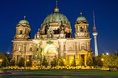 Berliner Dom and TV Tower at night