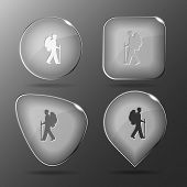 Traveller. Glass buttons. Vector illustration.