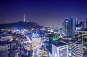 Seoul, South Korea skyline at night.