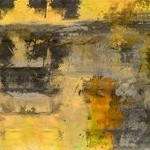art abstract colorful acrylic and pencil background in yellow, orange and grey colors
