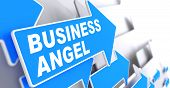 Business Angel on Blue Arrow Sign.