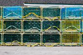 image of lobster trap  - Modern Lobster and Seafish traps during the day - JPG