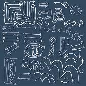 White doodle arrow in dark blue background