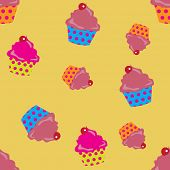 cute cupcakes seamless background. Eps10 vector format.