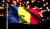 Romania National Flag Torn Burned War Freedom Night 3D