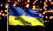 Ukraine National Flag Torn Burned War Freedom Night 3D