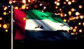 United Arab Emirates National Flag Torn Burned War Freedom Night 3D