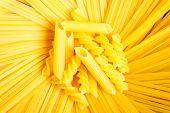 Raw macaroni, pasta and spaghetti. poster