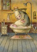 Cute cow in the bathroom washing herself.Vintage background.Children illustration. Cartoon childish