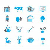 picture of duck egg blue  - set of 16 agriculture icons in blue color theme - JPG