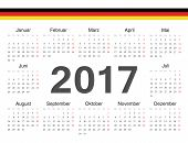 Vector German Circle Calendar 2017