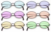 Illustration of many eyeglasses with different color lens