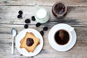 image of margarine  - Toast with marmalade and coffee on wooden table - JPG