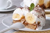 Delicious Slice Of Banana Cake Banoffee Close-up Horizontal