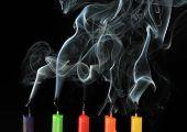five color extinguished candles