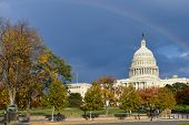 Capitol Building in Autumn  with a slight rainbow  - Washington D.C. United States of America