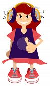 image of rap-girl  - Illustration of a girl is listening to music - JPG