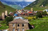 Ushguli village. Caucasus, Upper Svaneti - UNESCO World Heritage Site. Georgia.