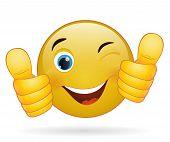 Thumb Up Emoticon, Yellow  Cartoon Sign Facial Expression
