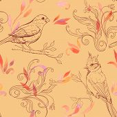 Pattern With Bird And Handdrawn Flowers